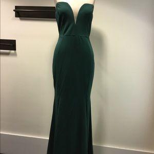 Hunter green strapless floor length dress